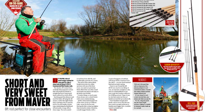 MV-R feeder rods review, Angling Times, February 2018