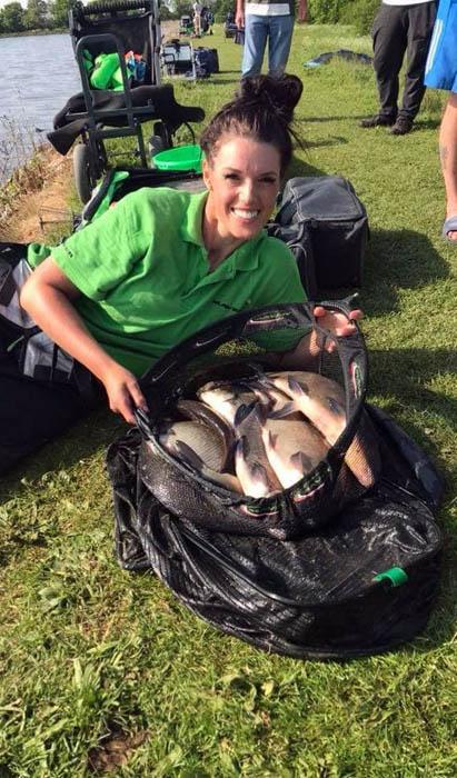 Emma with her match winning catch