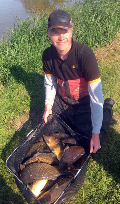 Sam Collett with part of his near-200lb match-winning catch