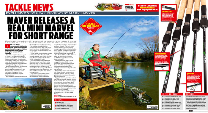 MVR 2pc feeder rods review, Angling Times, April 2019